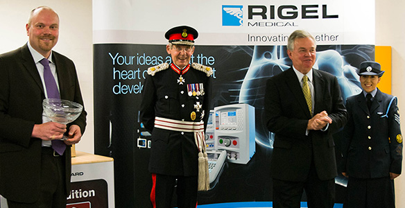 Lord Lieutenant Sir Paul Nicholson presents Rigel with the 2012 Queens Award